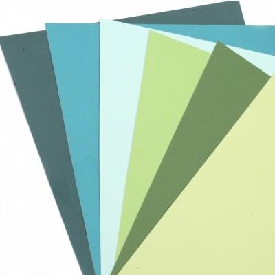 Картон 250 гр/м2 релефен едностранен А4 (21x 29.7 см) Forever Green 6 цвята синьо-зелена гама -6 броя