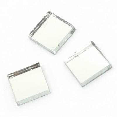 Мозайка стъклена за декорация 15х15х4 мм цвят син огледален ефект 100 грама ~ 60 броя