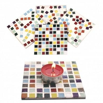 Креативен комплект MDF пана 100х100мм -4 броя мозайка -11 цвята ~ 430 части