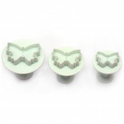 Комплект форми, резци 45х30 мм 38х25 мм 30х20 мм с бутало 40 мм пеперуда -3 броя