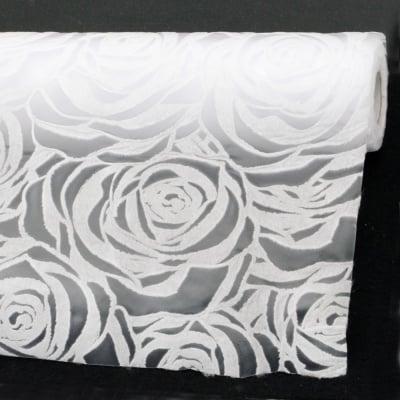 Текстилна хартия релефна рози 53x450 см цвят бял