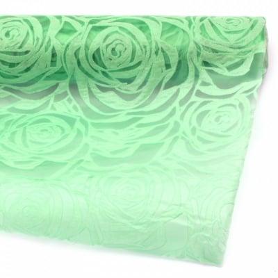 Текстилна хартия релефна рози 53x450 см цвят зелен