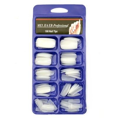 Пластмасови форми за изграждане на нокти 7x19 ±14x28 мм бели - 100 броя