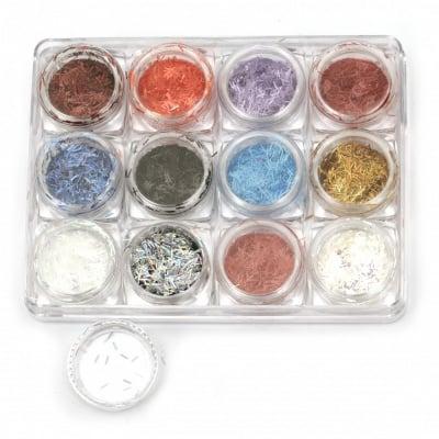 Брокатени частици за декорация в кутийка 30x15 мм пръчици -12 цвята