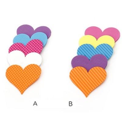 Сърце фоам релеф (EVA материал) 56x60x2 мм микс цветове -5 броя