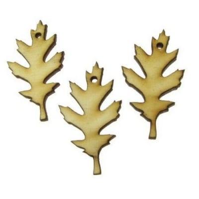 Фигурка дърво за декорация листо 45x25x3 мм отвор 2 мм.-10 броя