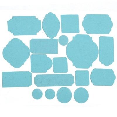 Таг от релефен картон различни форми от 17 до 67 мм син светло 19 бр.