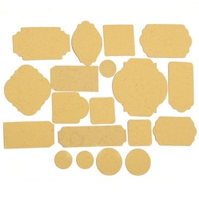 Таг от релефен картон различни форми от 17 до 67 мм охра 19 бр.