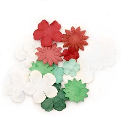Цветя от хартия релефни от 25 мм до 60 мм бели, зелени, червени -3 гр. приблизително 30 бр.