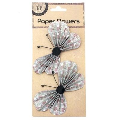 Пеперуди хартия и тел релефни 11.7x6.6 см на рози с лепки -2 броя