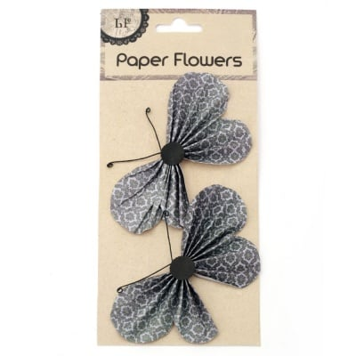 Пеперуди хартия и тел релефни 11.7x6.6 см зелена тъмно -2 броя