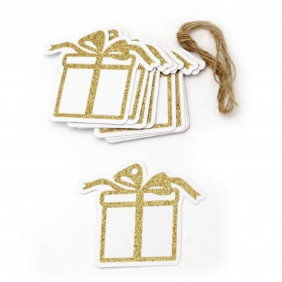 Картонени тагове 8.6x7.5 см мотив подарък брокат злато с шнур юта ±12 броя