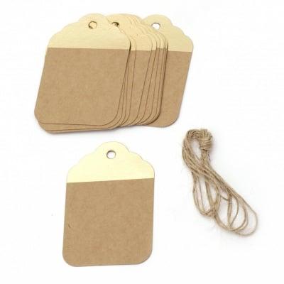Картонени тагове 5.7x8.5 см крафт картон и злато с шнур юта -12 броя