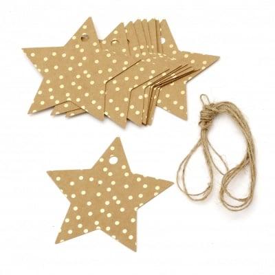Картонени тагове звезда 8.5x8.5 см крафт картон точки злато с шнур юта -12 броя