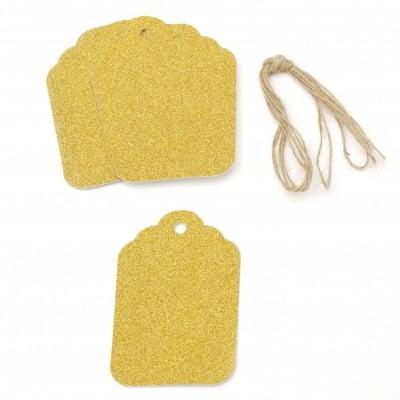 Картонени тагове 5.7x8.5 см картон брокат злато с шнур юта -12 броя