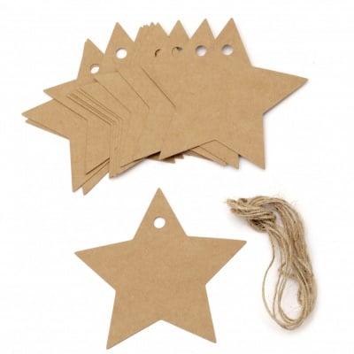 Картонени тагове звезда 8.5x8.5 см крафт картон с шнур юта -12 броя