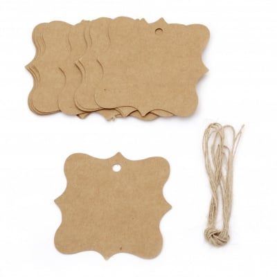 Картонени тагове фигура 7.5x7.5 см крафт картон с шнур юта -12 броя