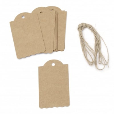 Картонени тагове 4.5x7.5 см крафт картон с шнур юта -12 броя