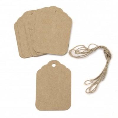 Картонени тагове заоблени ъгли 5.8x8.5 см крафт картон с шнур юта -12 броя