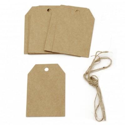 Картонени тагове 5.8x8.5 см крафт картон с шнур юта -12 броя