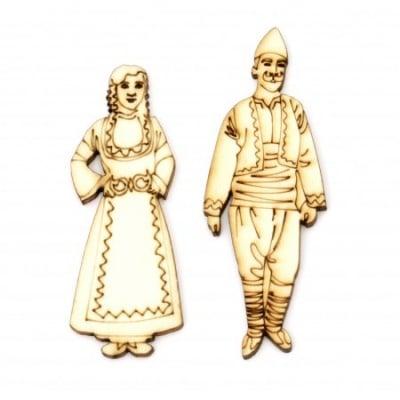 Фигурка дърво мъж 76x28 мм и жена 68x26 мм с носии