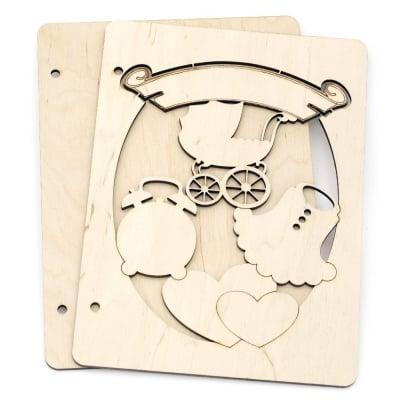 Дървени корици за скрапбук албум № А01 16x22x3 см