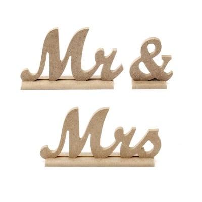 """Букви от MDF 8 мм за декорация на поставка""""Mr&Mrs"""" 10 см"""