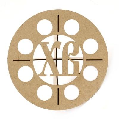 Поставка MDF за декорация с инициали ХВ за 8 яйца 20x9 см