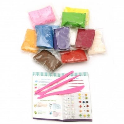Самосъхнещ моделин с инструменти и книжка с инструкции цвят Асорте -12 цвята ~95 грама