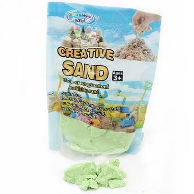 Цветен пясък за аранжиране и декорация цвят зелен - 500 грама