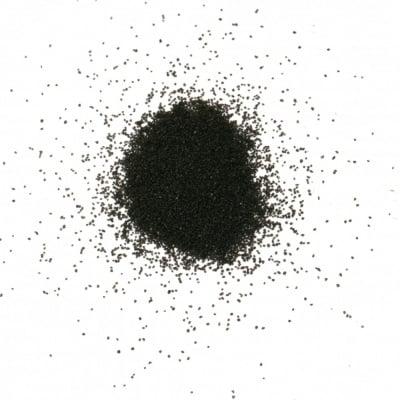 Стъклен пясък за декорация 0.2 мм 200 микрона цвят черен ~410 грама