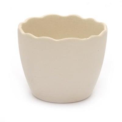 Ваза керамика 75x63 мм за декорация бяла -1 брой