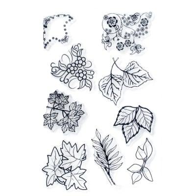 Силиконов печат 11x16 см листа и орнаменти с цветя