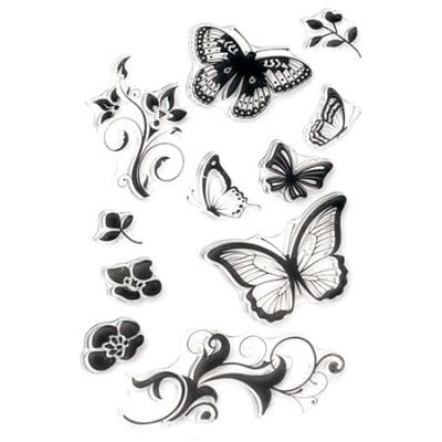 Силиконов печат 11x16 см пеперуди и орнаменти с цветя