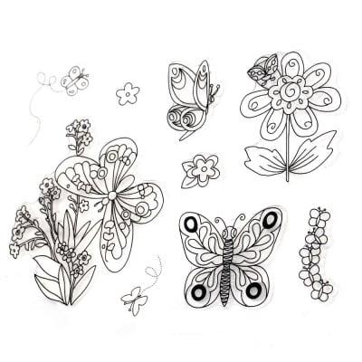 Силиконов печат 15x18 см пеперуди