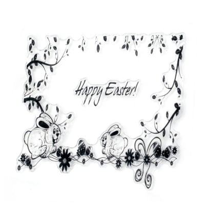 Силиконов печат 10x10 см Happy Easter зайци