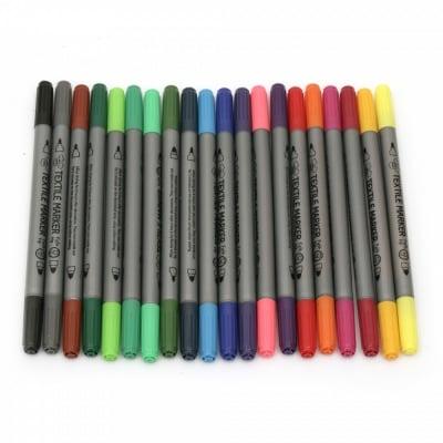 Комплект маркери за текстил водна основа двустранни 2.3-3.6 мм на 20 цвята