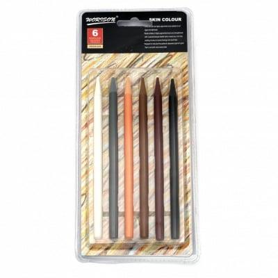 Комплект цветни моливи без дърво - 6 цвята кафява гама