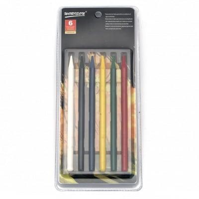 Комплект цветни моливи без дърво - 6 цвята основни