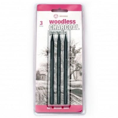 Комплект моливи от въглен без дърво charcoal pensils - 3 броя