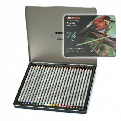 Комплект акварелни моливи в метална кутия -24 цвята