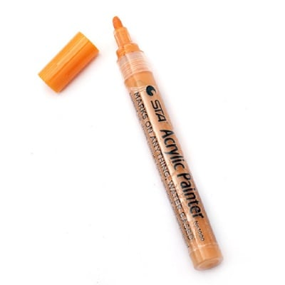 Акрилен водоустойчив маркер 2-3 мм оранжев -1 брой