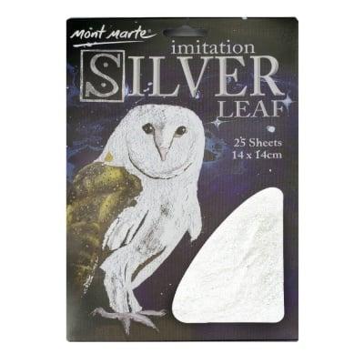 Декоративно фолио имитация на варак Mont Marte сребро 14x14 см. -25 листа