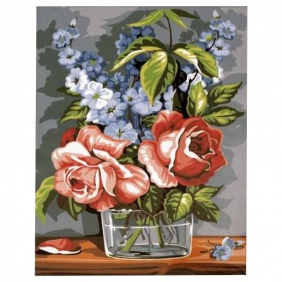 Комплект за рисуване по номера 30x40 см -Ваза с рози и сини цветя -платно с клинова подрамка и схема,бои и 3 броя четки