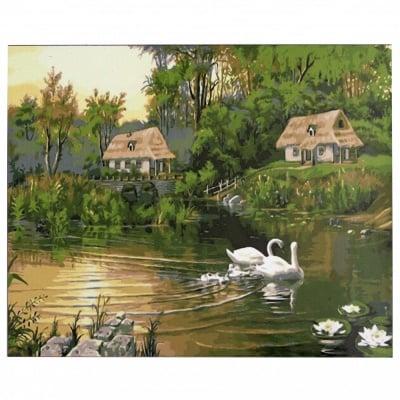 Комплект за рисуване по номера 40x50 см -Езерото с лебедите -платно с клинова подрамка и схема,бои и 3 броя четки