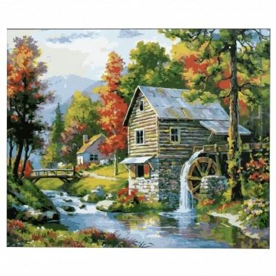 Комплект за рисуване по номера 40x50 см -Воденицата -платно с клинова подрамка и схема,бои и 3 броя четки