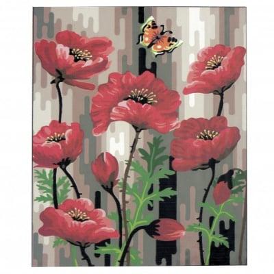Комплект за рисуване по номера 40x50 см -Макове -платно с клинова подрамка и схема,бои и 3 броя четки