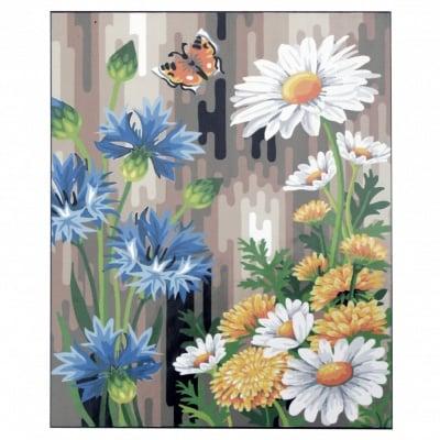 Комплект за рисуване по номера 40x50 см -Маргаритки и синчец -платно с клинова подрамка и схема,бои и 3 броя четки