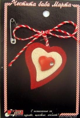 Мартеници сърце от вата 10 броя
