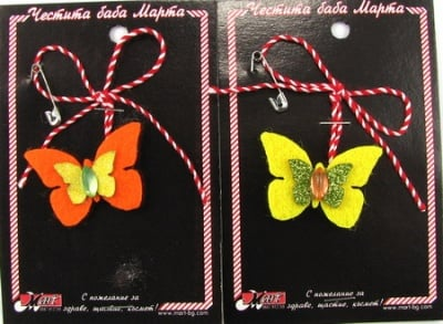 Мартеница пеперудка цветна филц 10 броя